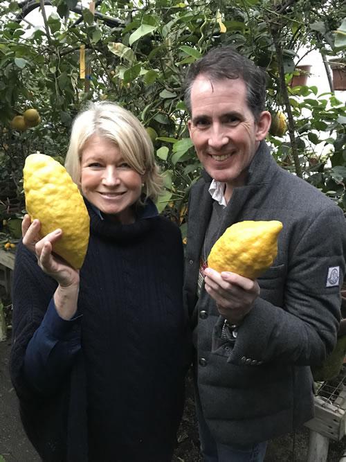 Martha Stewart and her floral designer Kevin Sharkey, holding Citrus medica 'Turunji'